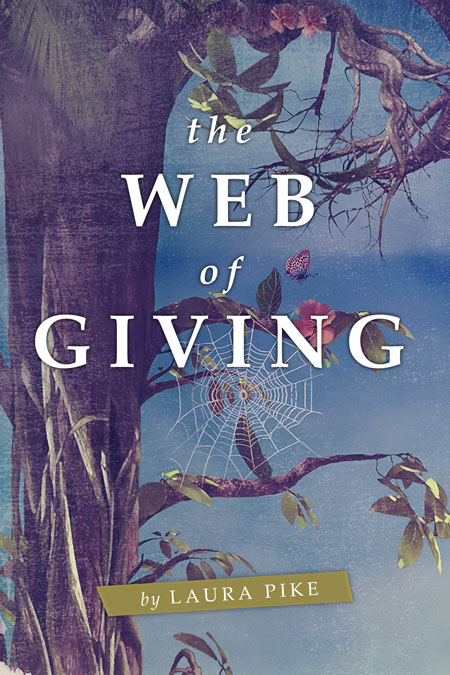 Illustrated Premade Book Covers : The web of giving illustrated pre made book cover for sale