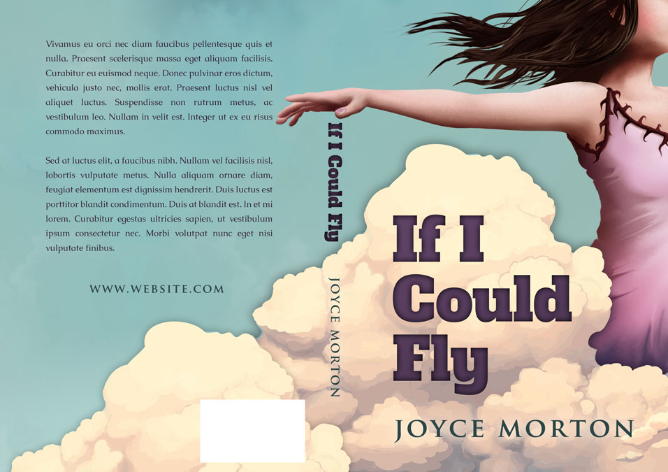 Illustrated Premade Book Covers : If i could fly illustrated pre made book cover for sale