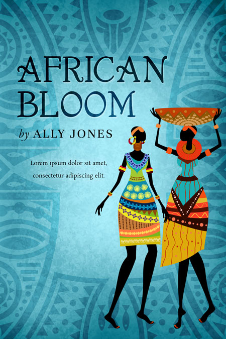 Illustrated Premade Book Covers : African bloom fiction pre made book cover for sale