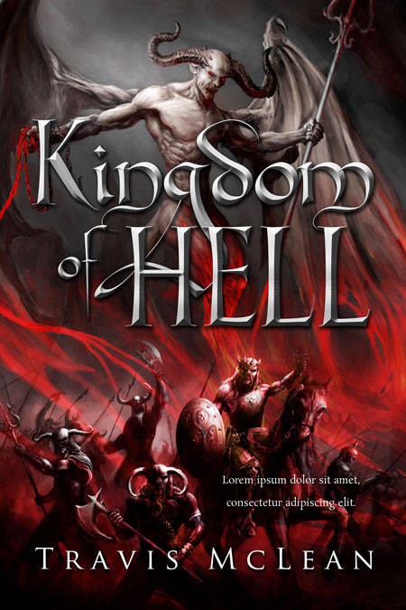 Illustrated Premade Book Covers : Kingdom of hell fantasy illustrated pre made book cover