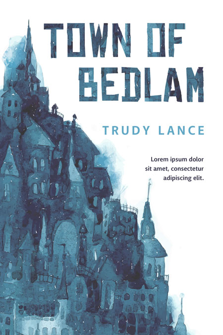Illustrated Book Cover Names : Town of bedlam illustrated book cover for sale