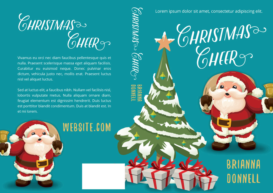 Illustrated Premade Book Covers : Christmas cheer premade book cover for sale