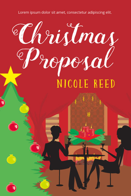 Illustrated Premade Book Covers : Christmas proposal premade book cover for sale