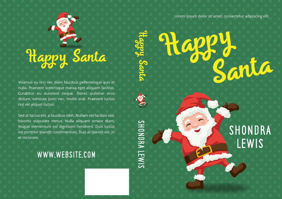Illustrated Premade Book Covers : Happy santa middle grade christmas premade book cover