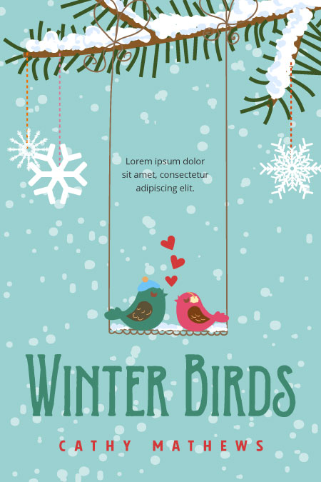 Illustrated Premade Book Covers : Winter birds premade book cover for sale