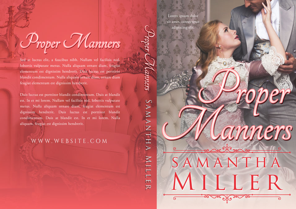 Romance Book Covers For Sale : Proper manners historical romance premade book cover for
