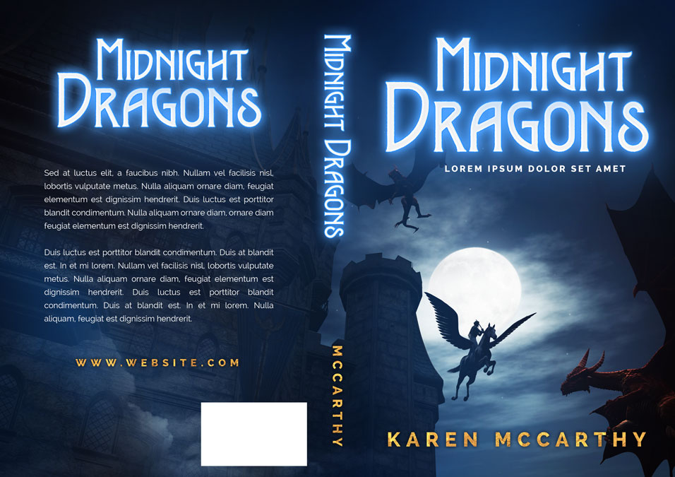 Book Cover Illustration Fee : Midnight dragons fantasy pre made book cover for sale