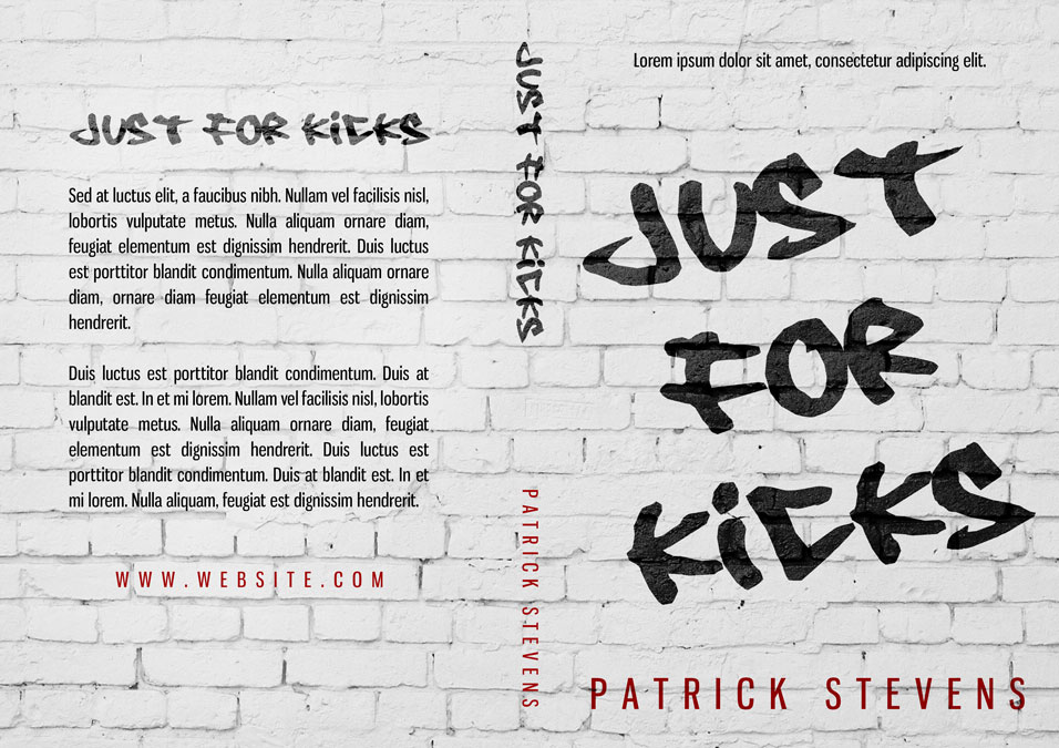 Just For Kicks - Typography Premade Book Cover For Sale @ Beetiful Book Covers