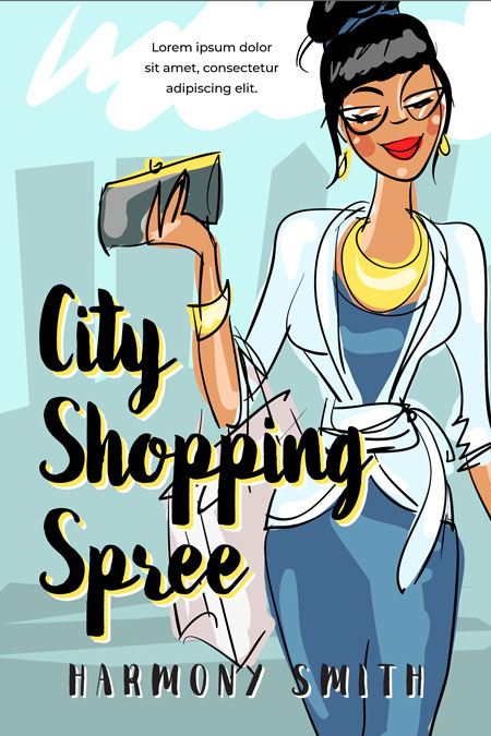 City Shopping Spree - Illustrated Chick-lit Premade Book Cover For Sale @ Beetiful Book Covers