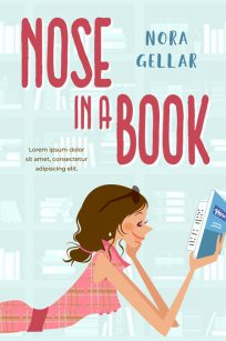 Nose in a Book - Illustrated Chick-lit Premade Book Cover For Sale @ Beetiful Book Covers