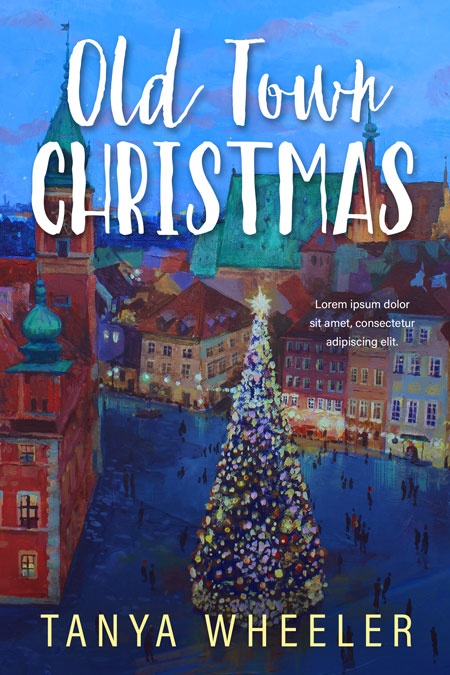 Old Town Christmas - Illustrated Christmas Premade Book Cover For Sale @ Beetiful Book Covers