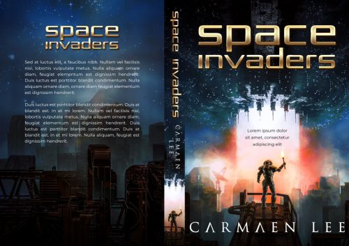 Space Invaders - Illustrated Science-Fiction Premade Book Cover For Sale @ Beetiful Book Covers